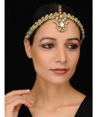 Gold Tone Kundan with shell Pearls Maathapatti
