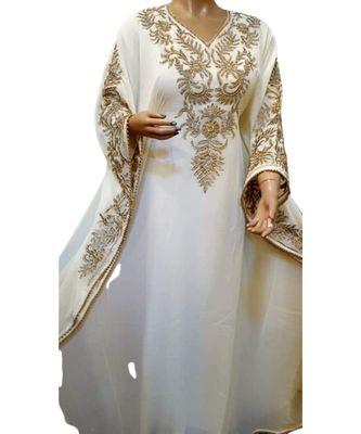cream georgette embroidered zari_work islamic kaftans
