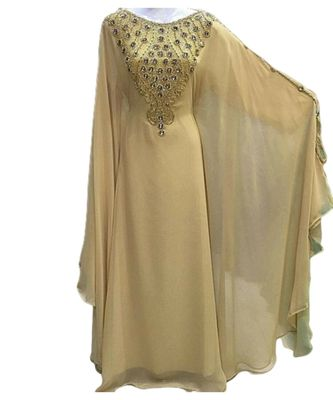 beige georgette embroidered zari_work islamic kaftans