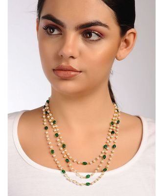 Green Gold Tone Stone and Pearl Necklace