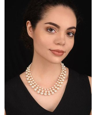 White Pearl three layered Necklace