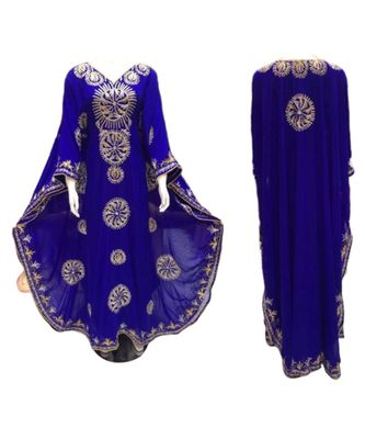 royal blue georgette embroidered zari_work islamic kaftans