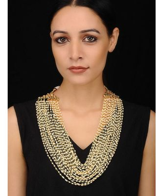 Gold Tone Kundan and shell Pearls Multistrand Necklace