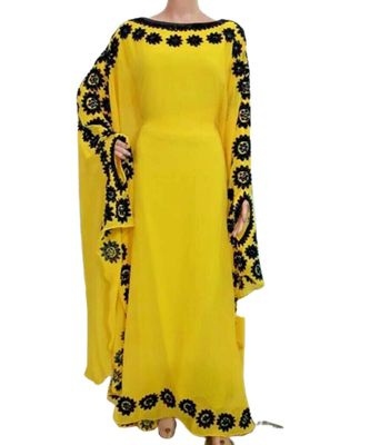 yellow georgette embroidered zari_work islamic kaftans