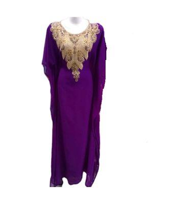 purple georgette embroidered zari_work islamic kaftans