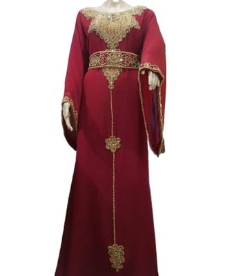 Maroon Georgette Embroidered Zari Work Islamic Kaftans