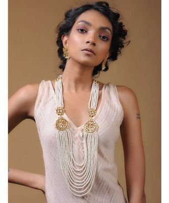 White Gold Tone Kundan and Pearl Multilayered Necklace Set