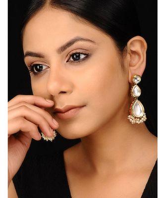 Gold Tone Kundan and Pearls Earrings