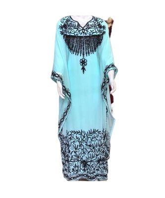 turquoise georgette embroidered zari_work islamic kaftans