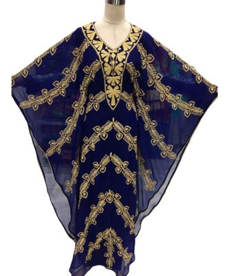 navy blue georgette embroidered zari_work islamic kaftans