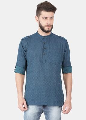 Blue Self Design Pure Cotton Short Kurta