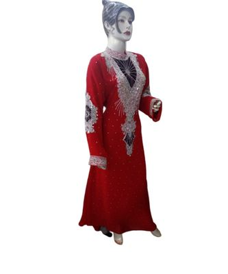 red georgette embroidered zari_work islamic kaftans