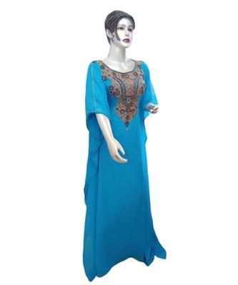 blue georgette embroidered zari_work islamic kaftans