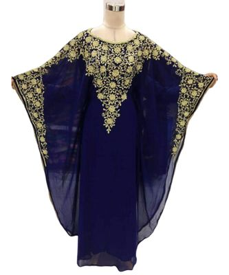 navy blue georgette embroidered zari_work islamic kaftans