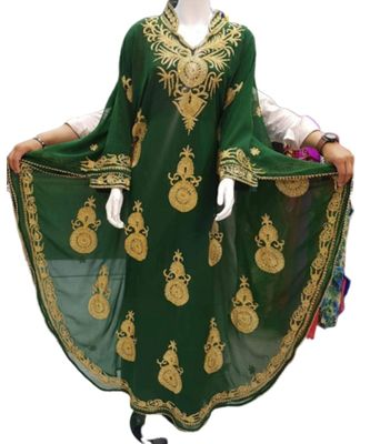 green georgette embroidered zari_work islamic kaftans