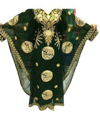 green georgette embroidered zari_work islamic kaftans