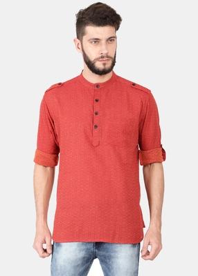 Red Self Design Pure Cotton Short Kurta