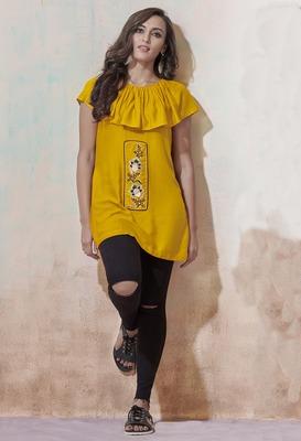 Yellow embroidered viscose rayon long-tops