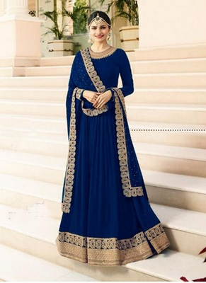Blue embroidered faux georgette salwar