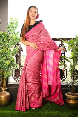 PINK BLENDED MATKA SAREE WITH ALLOVER GOLDEN PRINTED BUTA