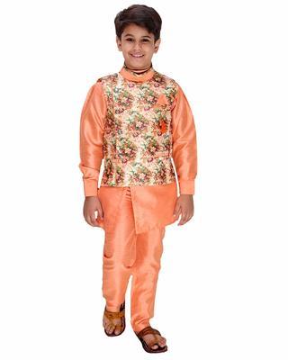 Orange plain cotton silk boys-kurta-pyjama
