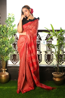 DARK RED BLENDED MATKA SAREE WITH ALLOVER GOLDEN PRINTED BUTA
