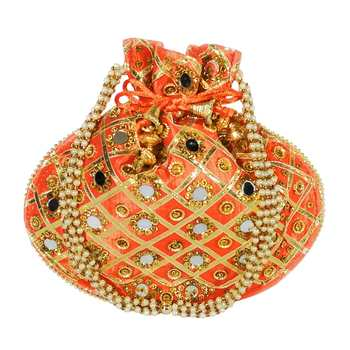 Women's Designer Partywear Bridal Potli Clutch Bag Orange (Single Bag)