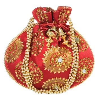 Women's Designer Bridal Potli Clutch Bag for Partywear Maroon (Single Bag)