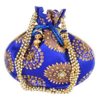 Women's Designer Bridal Potli Clutch Bag for Partywear Blue (Single Bag)