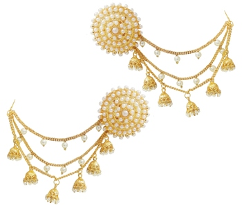 Designer Ethnic Indian Bollywood Celebrity Copy Pearl Tops Studs Chain Earrings Set