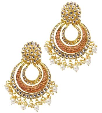 Ethnic Indian Bollywood Peech Meenakari Chandbali Earrings Set