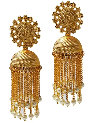 Ethnic Indian Bollywood Chain Style Gold Plated Jhumki Earrings Set
