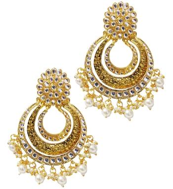 Ethnic Indian Bollywood Kundan Pearl Chandbali Earrings Set