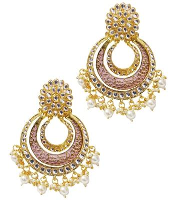Ethnic Indian Bollywood Pink Meenakari Chandbali Earrings Set