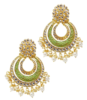 Ethnic Indian Bollywood Mint Green Meenakari Chandbali Earrings Set