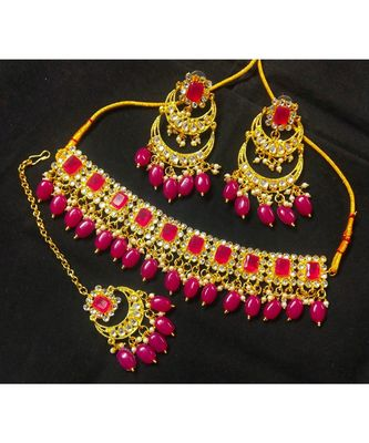 Designer Choker CZ Ruby Kundan Pearl Jewelry Set