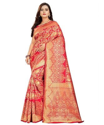 maroon woven art silk saree with blouse