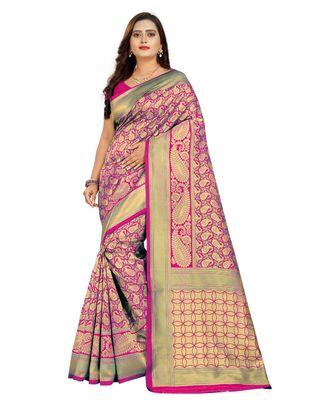 magenta woven art silk saree with blouse