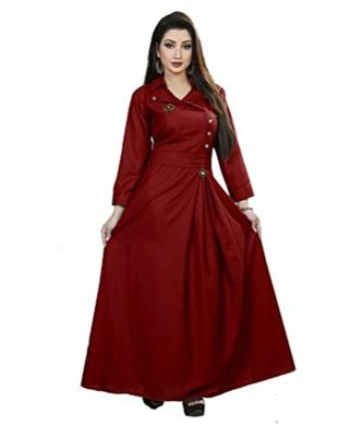 Maroon Plain Cotton Galaxy  Stiched Partywear Gown