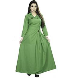Light Green Plain Cotton Galaxy  Stiched Partywear Gown