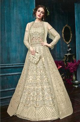 Cream embroidered Net semi stitched salwar with dupatta