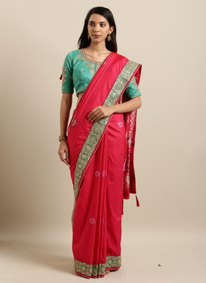 Pink Woven Zari with Embroidery Border Silk Blend Saree With Blouse Pics
