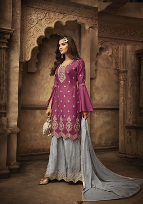 Purple embroidered art silk semi stitched salwar with dupatta