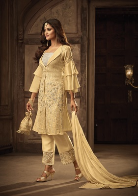 Yellow embroidered art silk semi stitched salwar with dupatta