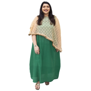 Dark-green brasso art silk kurtas-and-kurtis
