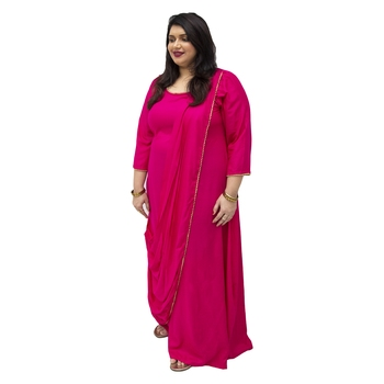 Pink plain rayon kurtas-and-kurtis
