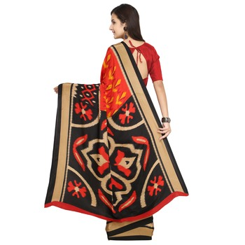 Red & Multi Abstract Print Crepe Saree With Blouse Pics