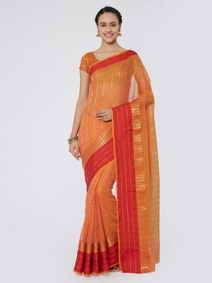 Peach & Red Woven Zari Cotton Silk Saree With Blouse Pics