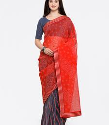 Grey & Red Bandhani print Super net Cotton Saree With Blouse Pics