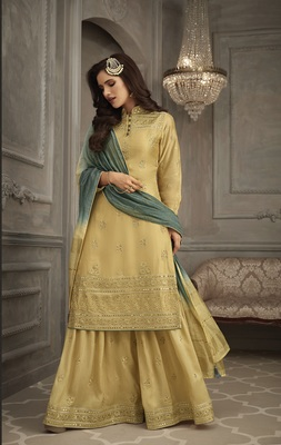 Mustard embroidered Georgette semi stitched salwar with dupatta